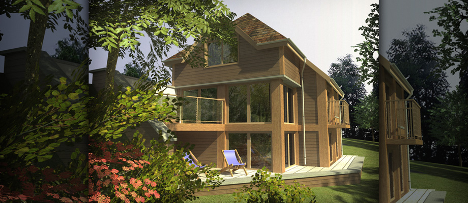 3D CAD Image of Family Woodland Home Fearnley Lott Architects